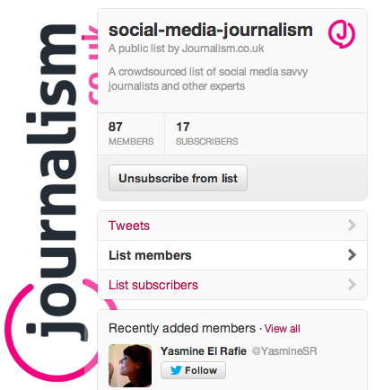 Journalism.co.uk curation - twitter lists