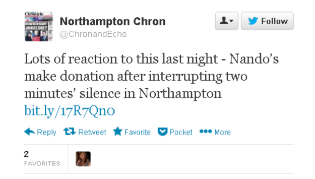 "Northampton Chronicle tweet - ""Lots of reaction to this last night..."""