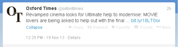 "Oxford Times tweet - ""Revamped cinema looks for Ultimate help to modernise: MOVIE lovers..."""