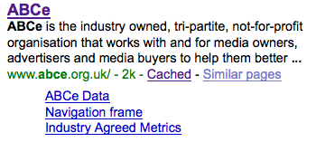 ABCe in Google: meaningless description, absurd sitelinks