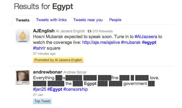 Al Jazeera sponsored Twitter tweet on Egypt