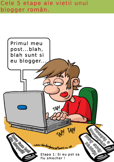 Blogging cartoon in Romanian