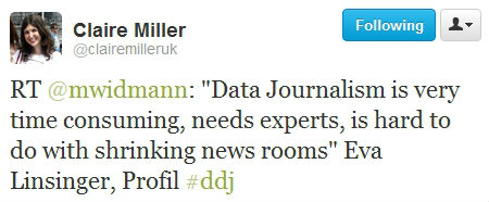 """Data Journalism is very time consuming, needs experts, is hard to do with shrinking news rooms"" Eva Linsinger, Profil"
