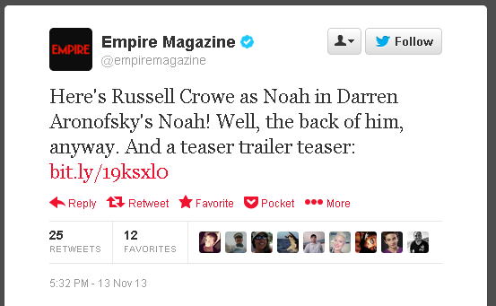 Empire magazine tweet - Here's Russell Crowe...