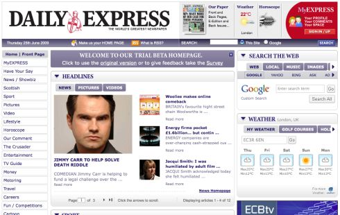 New Express homepage