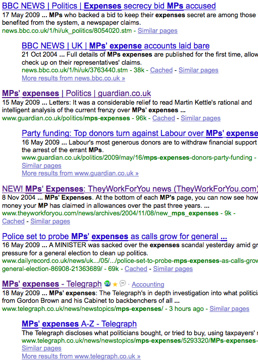 Search results for MPs expenses at Google