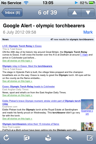 Google Alerts for Olympic torch