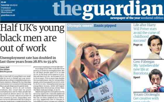 Guardian cover March 10 2012: Half UK's young black men out of work