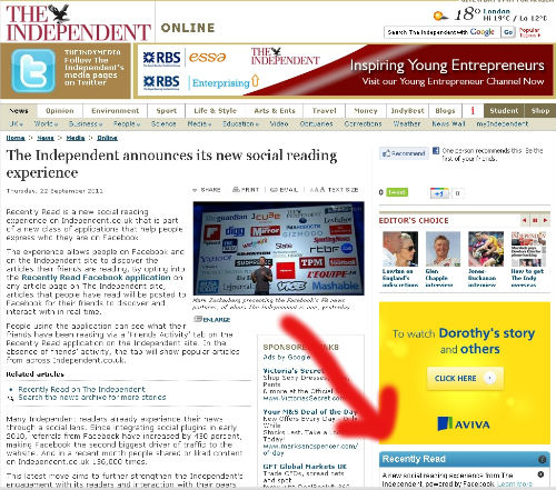 The Independent's new Facebook App in action