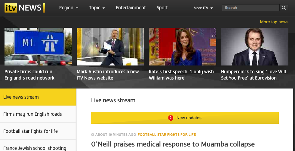 ITV News's new website – welcome to the news stream | Online Journalism Blog