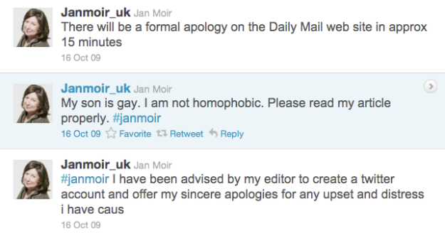 Fake Jan Moir tweets on Twitter