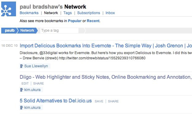 Leaving Delicious - other services already being bookmarked on my network