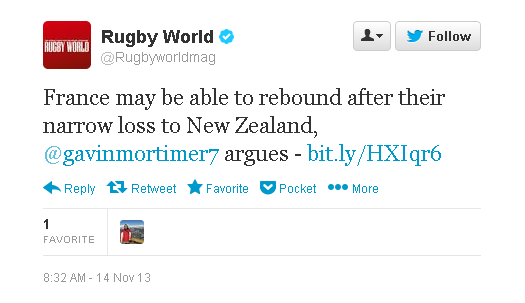 Rugby World Magazine tweet - France may be able to...