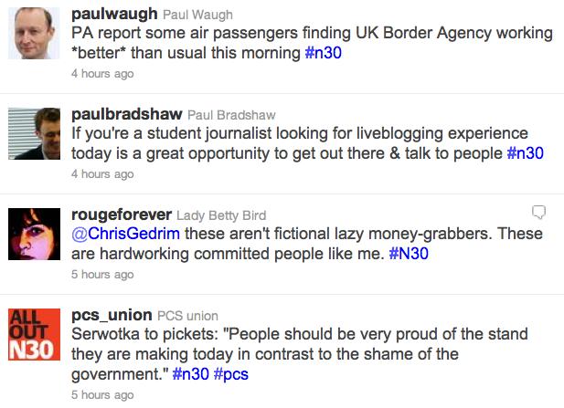 Liveblogging the strikes: Twitter's #n30 stream