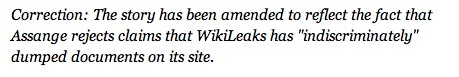 Time magazine's Wikileaks correction