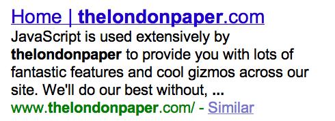 thelondonpaper's poor appearance in google's results
