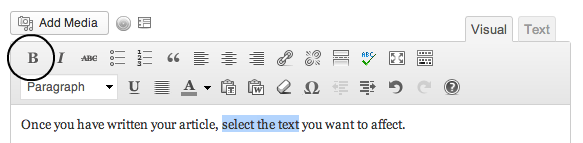 The WordPress formatting button for bold