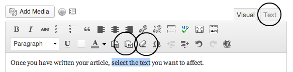 The WordPress formatting buttons for cleaning