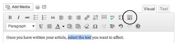 The WordPress formatting button for 'kitchen sink'