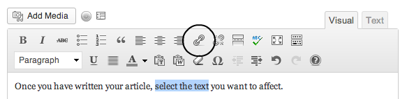 The WordPress formatting button for linking