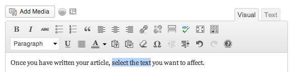 The WordPress formatting menu