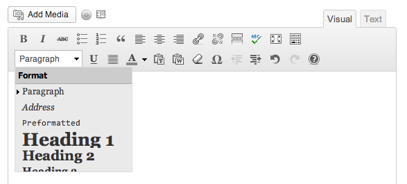 Wordpress Formatting Paragraph Dropdown menu