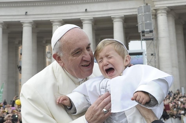 child crying pope