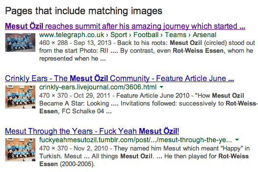 Some of the results brought up by using Google Images' search by image tool