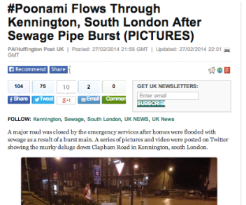 That headline: #Poonami Flows Through Kennington, South London After Sewage Pipe Burst (PICTURES)