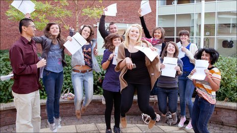 Photogenic students leap in celebration of a level results