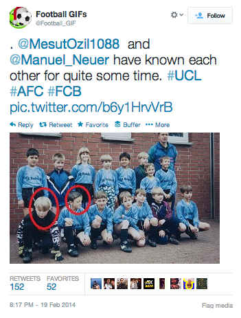 @MesutOzil1088  and @Manuel_Neuer have known each other for quite some time. #UCL #AFC #FCB pic.twitter.com/b6y1HrvVrB