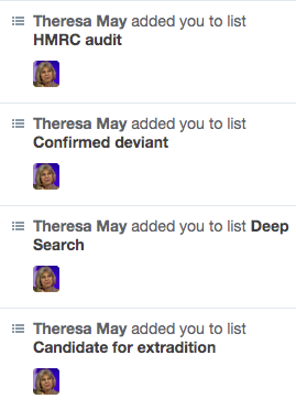 Theresa May bot lists