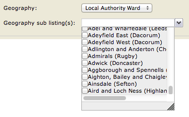 universal jobmatch wards dropdown - only goes as far as letter A