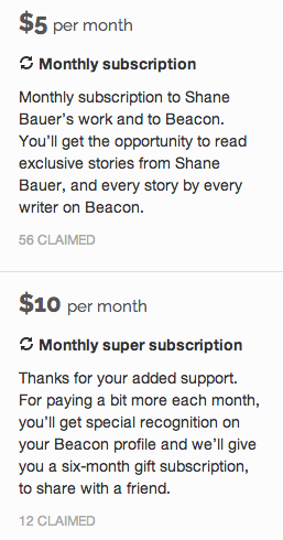 crowdfunding subscriptions on Beacon