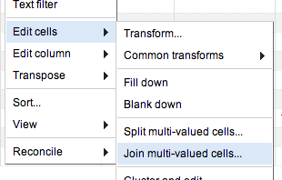 Join cells menu