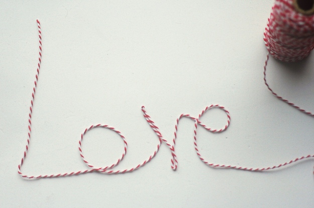 The word love written with string