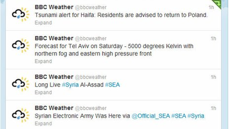 The Syrian Electronic Army hacked the BBC Weather Twitter account