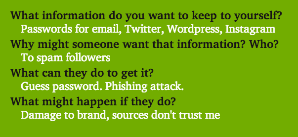 What info do you want to keep? Passwords. Why might someone want it? To spam. What can they do? Guess password, phishing. What might happen? Damage to brand, trust.