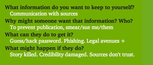 What info do you want to keep? Communication with sources. Why might someone want it? To prevent publicaiton, smear. What can they do? Guess/hack password, phishing, legal avenues. What might happen? Story killed, credibility, trust.