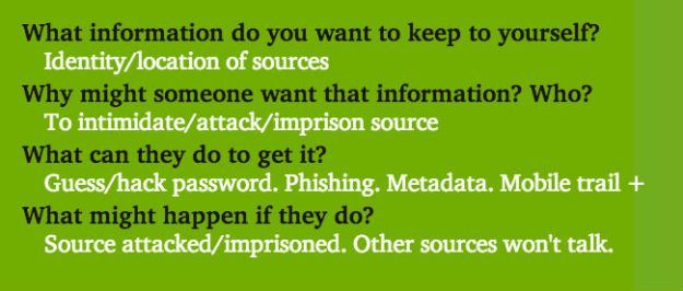 What info do you want to keep? Identity/location of sources. Why might someone want it? To intimidate, attack, smear. What can they do? Guess/hack password, phishing, metadata, mobile trail, more. What might happen? Source attacked, imprisoned, trust.