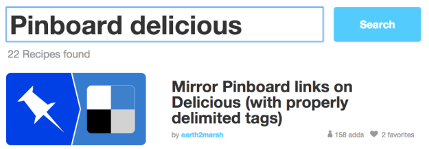 pinboard delicious ifttt search