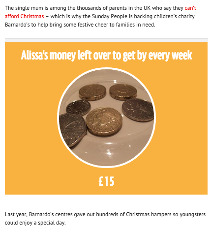 Alissa's money left over to get by every week: £15