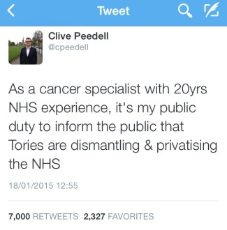 """As a cancer specialist with 20 years NHS experience, it's my #PublicDuty to inform you that the Tories are dismantling and privatising the NHS"""