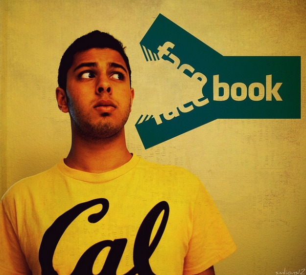 Facebook logo snapping at person