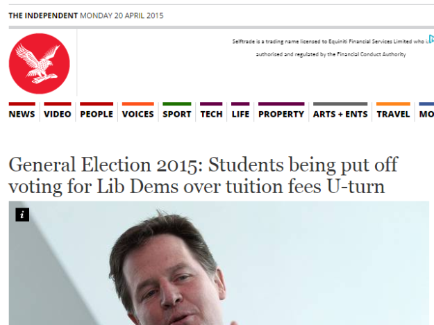 General Election 2015 Students being put off voting for Lib Dems over tuition fees U turn General Election 2015 UK Politics The Independent