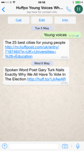 HuffPo's Young Voices WhatsApp account