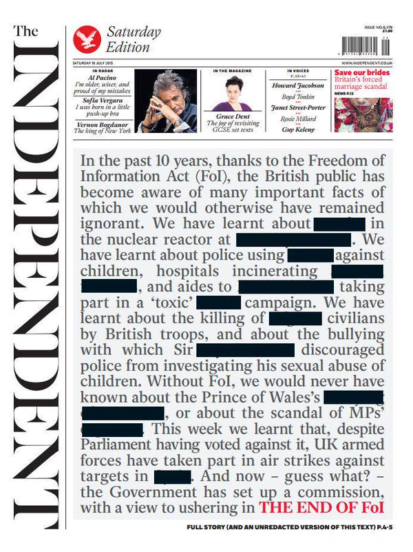 Independent front page on FOI