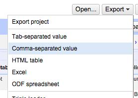open refine export menu