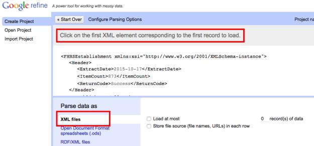 open refine XML import