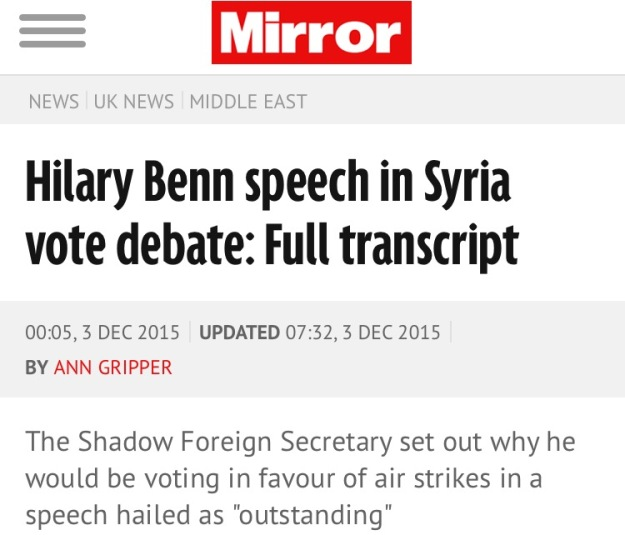 Mirror Hilary Benn Headline
